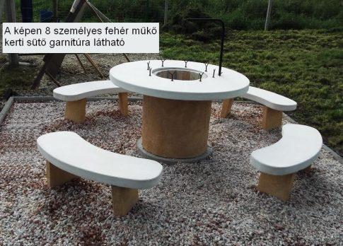 8 személyes FEHÉR MŰKŐ kerti szalonnasütő garnitúra