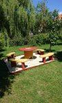 8 személyes kerti SÁRGA MŰKŐ szalonnasütő garnitúra