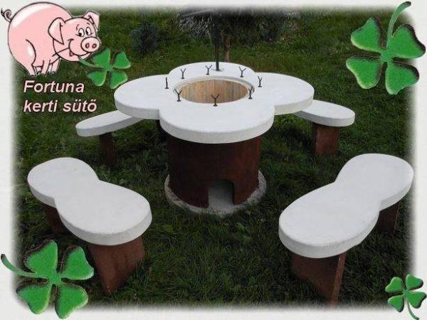 8 személyes Fehér műkő  Fortuna kerti sütő garnitúra